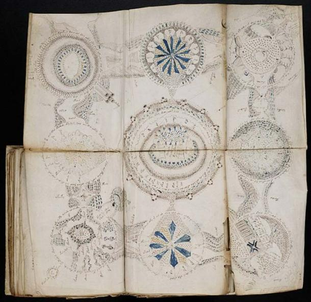 Some pages of the Voynich Manuscript fold out to show larger diagrams. (Public Domain)
