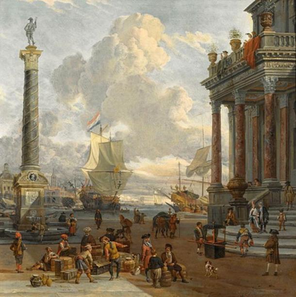 'Southern harbor scene with merchants.'