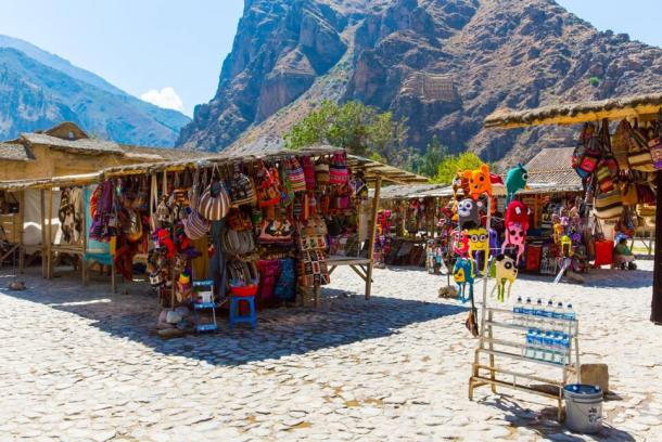 Souvenir market on street in Ollantaytambo, Peru near Machu Picchu