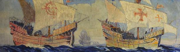 A detail of a painting of Spanish Caravels of the 16th century by Frederick Leonard King, a 20th century American painter