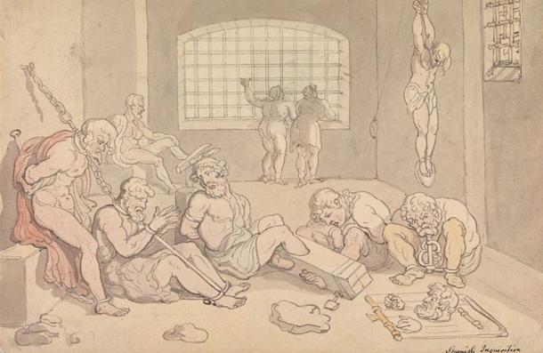 English painter Thomas Rowlandson's watercolor and ink depiction of victims of the Spanish Inquisition