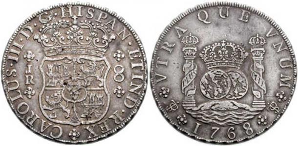 Spanish Piece of Eight, or Spanish Pillar Dollar. (CC BY-SA 2.5)