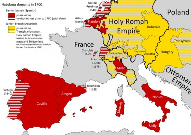 The Spanish and Austrian Habsburg Dominions in 1700