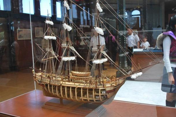 A model of a Spanish galleon on display in the Naval History Museum in Mexico City