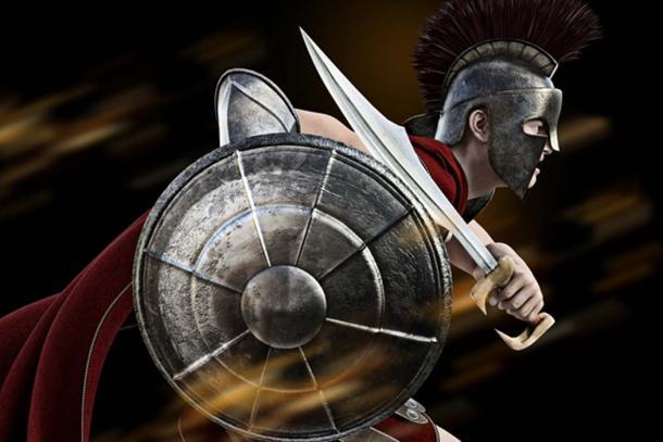 Spartan warrior in battle dress with sword. (storm / Adobe)