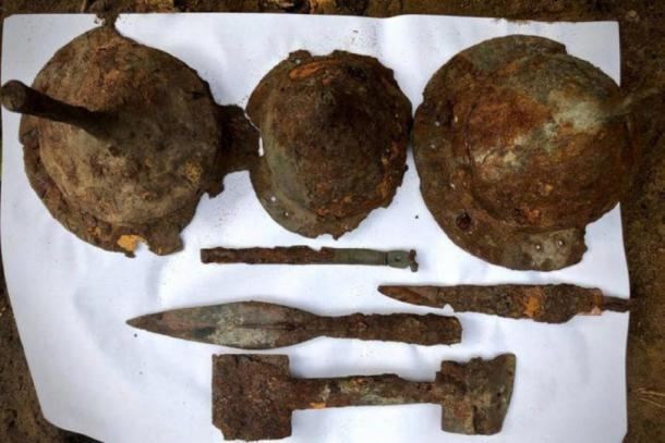 Spearheads, helmets and other items found at the Germanic burial site in Kostrzyn, Poland, earlier this year. (Tempelburg Historical and Cultural Association and Kostrzyn Fortress Museum)