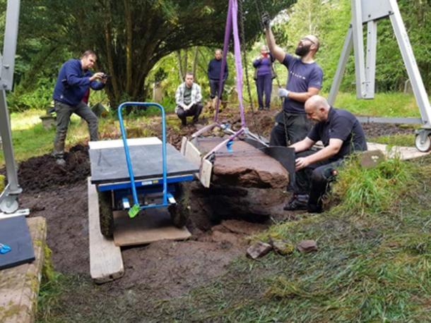 Specialist conservators excavated the Pictish stone. (NOSAS)