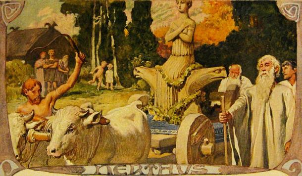 Spectators watch as the processional wagon of the Germanic goddess Nerthus moves along, inspired by Tacitus' description of the Germanic custom in his first century AD work Germania. (Public Domain)