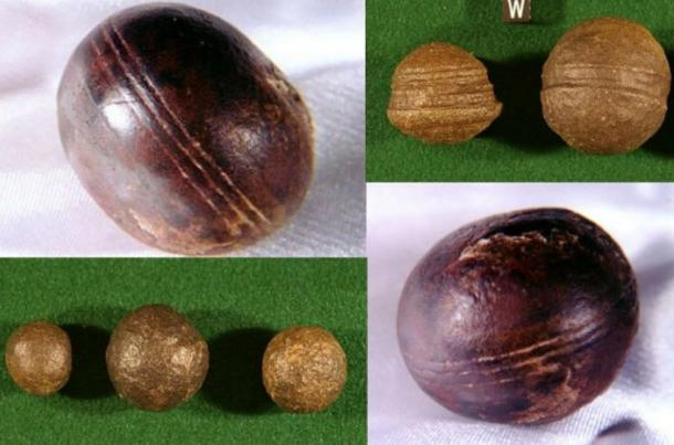 Top left, bottom right: Spheres, known as Klerksdorp spheres, found in the pyrophyllite (wonderstone) deposits near Ottosdal, South Africa. (Robert Huggett) Top right, bottom left: Similar objects known as Moqui marbles from the Navajo Sandstone of southeast Utah.