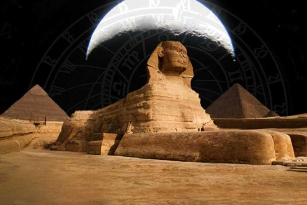 Sphinx and Pyramids at The Giza Plateau (CC BY 2.0) , the moon, and clockworks
