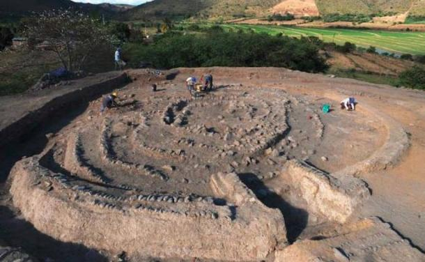 Spiral shaped building at the archaeological site.