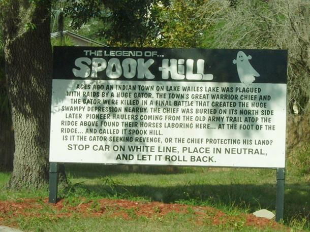 The sign at Spook Hill.
