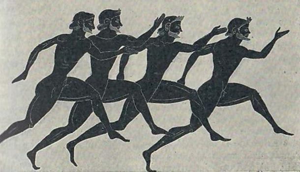 Sprinters. A racing scene from a Panathenaic amphora. Sixth Century.
