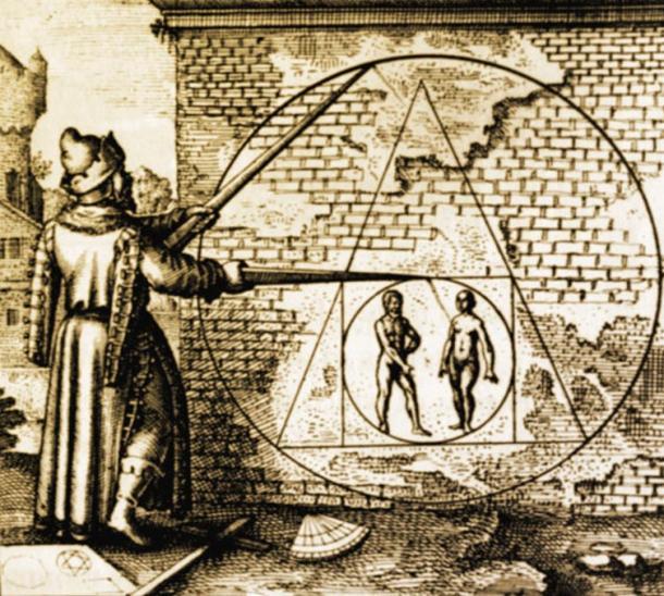 """""""Squaring the Circle"""", Michael Maier's Atalanta fugiens, emblema XXI, 1618"""