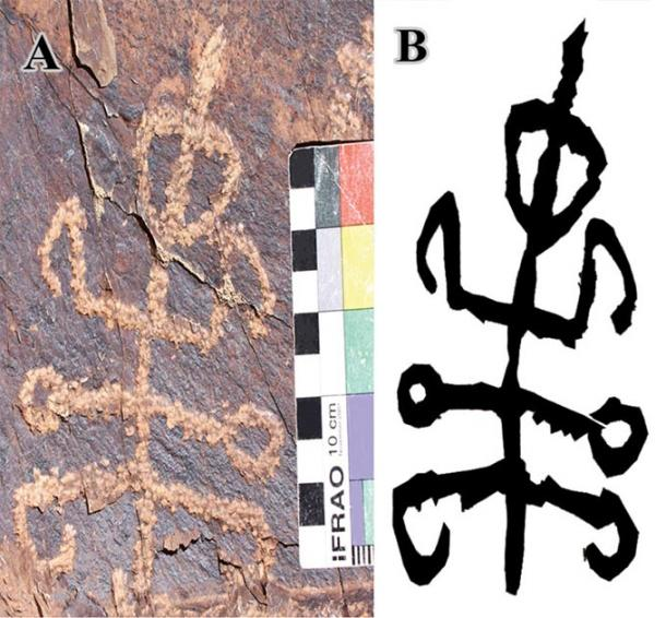 """Squatting mantis man"" petroglyph. A. The inspected petroglyph, located in Teymareh Region, Khomein County, Markazi Province, Iran. IFRAO (International Federation of Rock Art Organizations) Standard Scale: 10 cm from end to end. Photo credit: M. Naserifard. B. Black and white drawing of the motif (illustration by M. Kolnegari). (Journal of Orthoptera Research)"