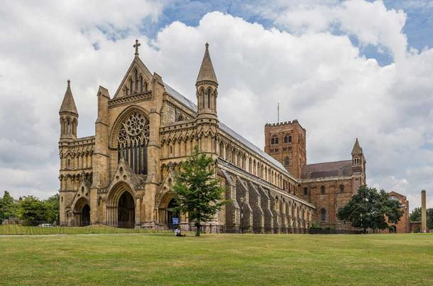 St Albans Cathedral viewed from the west in Hertfordshire, England