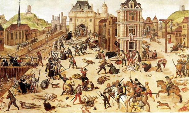 Painting by François Dubois of the St Bartholomew's Day massacre. Although Dubois did not witness the event himself, he depicts Admiral Coligny's body hanging out of a window at the rear to the right. To the left rear, Catherine de' Medici is shown emerging from the Château du Louvre to inspect a heap of bodies.