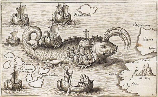 St. Brendan's ship on the back of a whale, and his men praying, in Honorius Philoponus' Nova typis transacta navigation 1621; image from Sea Monsters on Medieval and Renaissance Maps by Chet Van Duzer. (Public Domain)