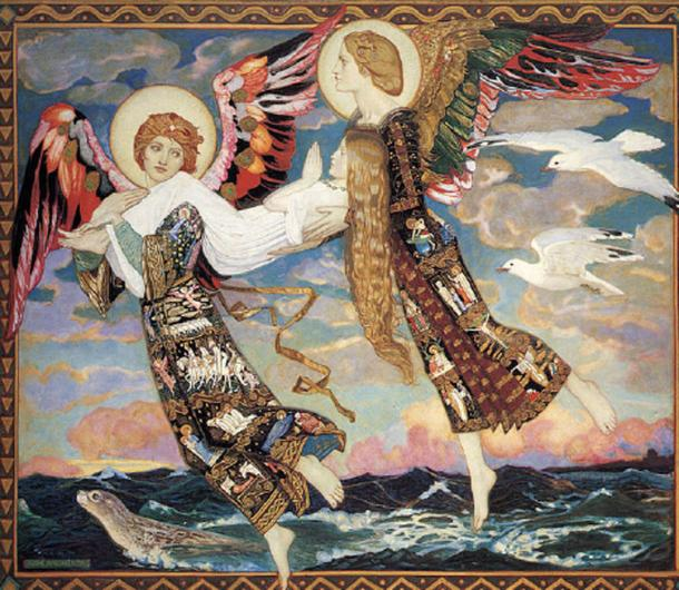 St. Bride Carried By Angels, an example of Christianity and pagan beliefs coming together. (Zacwill / Public Domain)