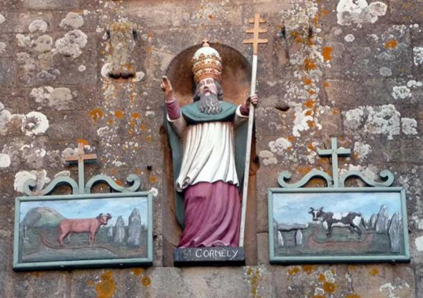 St Cornely, shown on the tower of the church dedicated to him in Carbac, Brittany (Photo: Anthony Adolph)