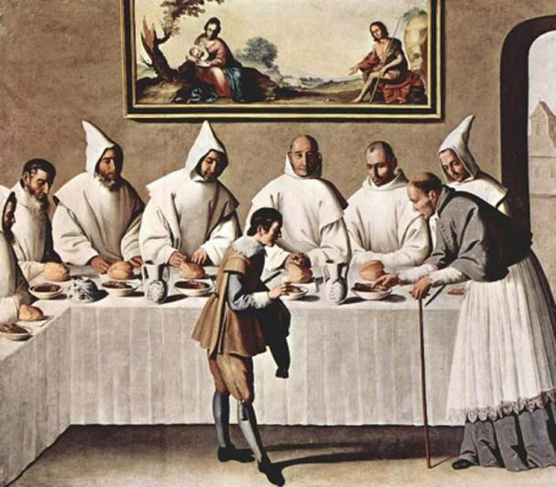 'St Hugh of Grenoble in the Carthusian Refectory' (1630-1635) by Francisco de Zurbarán. (Public Domain)