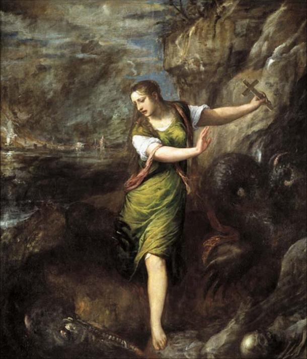 St Margaret and the Dragon by Titian. Prado Museum