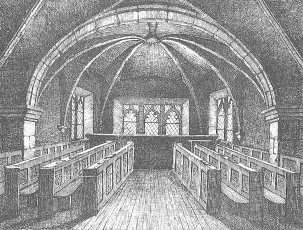 An 1868 drawing of St. Mary's Chapel, where accused witches were imprisoned in the 16th century as they awaited trial.