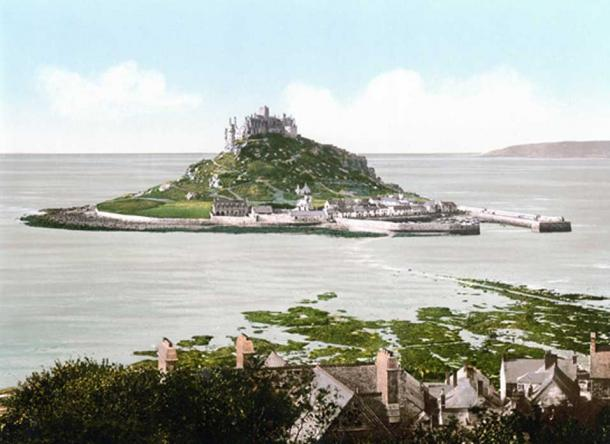 St. Michael's Mount photographed in 1903 with added color. (Image via author)