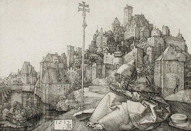 St. Anthony visits St. Paul in the wilderness. Albrecht Dürer (Germany, Nuremberg), 1471-1528.
