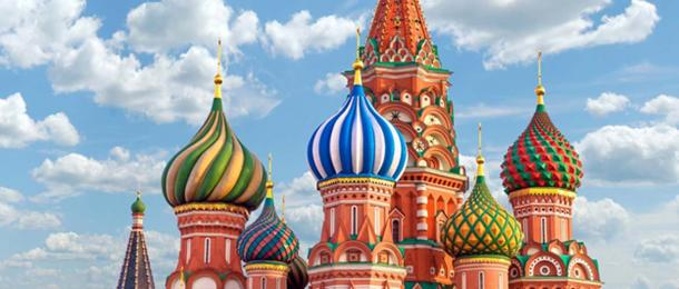 St. Basil's Cathedral iconic colored domes. (Maria / Adobe)