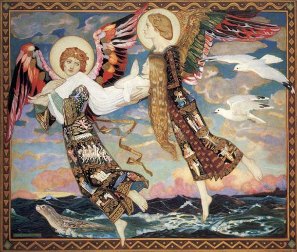 """St. Bride,"" a 1913 painting by John Duncan"