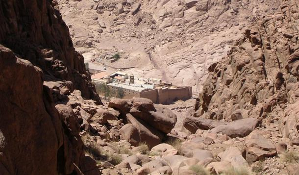 St. Catherine's Monastery from Mount Sinai in Egypt; the monastery has the oldest continuously operating library in the world.