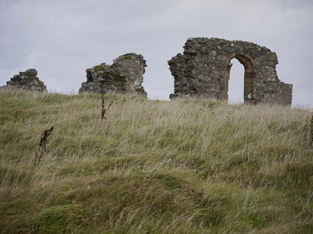 St. Dwynwen Church ruins on Llanddwyn Island. It was originally built in the 16th Century.