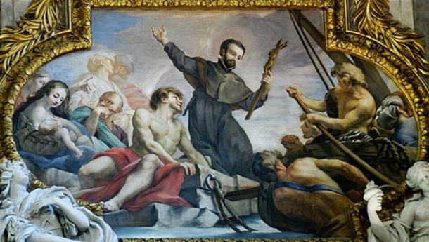 St. Francis Xavier recovering his cross brought back by a crab. Chapel of St. Francis, Gesu, Rome.
