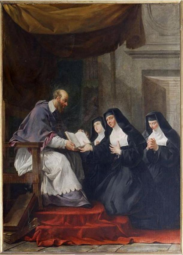 St. Francis de Sales giving the Rule for the Order of the Visitation of Holy Mary to St. Jane Frances de Chanta