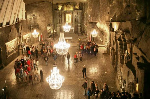 St. Kinga's Chapel, deep in the Wieliczka salt mine.