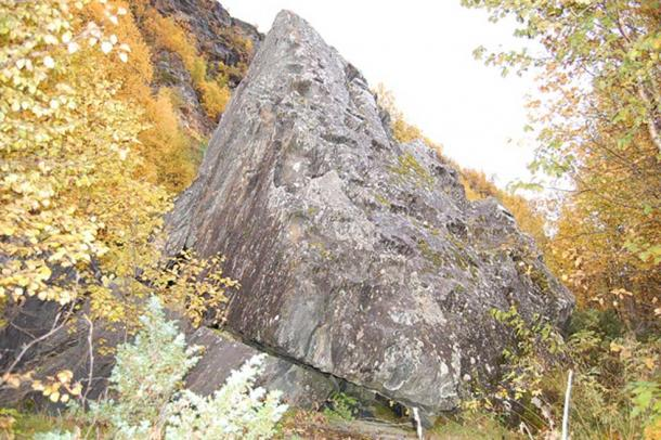 Stabben: A seida (worshiped stone) in Balsfjord. (Public Domain)