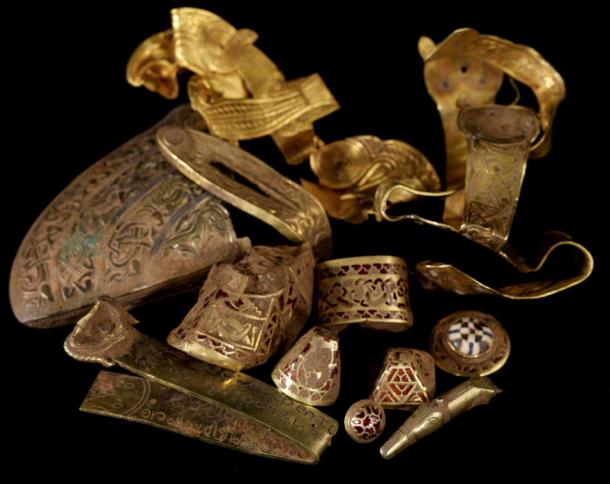 The Staffordshire Hoard, discovered in a field in Hammerwich, near Lichfield in July 2009, is perhaps the most important collection of Anglo-Saxon objects found in England. 2009, David Rowan, Birmingham Museum and Art Gallery.