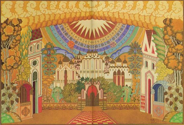 """Stage-set design for Scene Two, Act Four of the opera the """"Tale of the Lost City of Kitezh and the Maiden Fevronia"""" by Rimsky-Korsakov. 1929"""