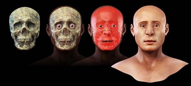 Stages of 3D facial reconstruction. (Cicero Moraes / CC BY-SA 3.0)