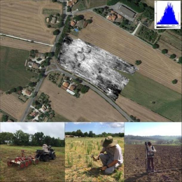 Stages in the integrated resistivity and magnetic prospection by the University of Bologna, in collaboration with INGV-Rome and Geocarta, Paris: top) the resistivity map inserted into the local landscape; below) the ARP© system and traditional methods (Image: F. Boschi / © Antiquity Publications Ltd ).