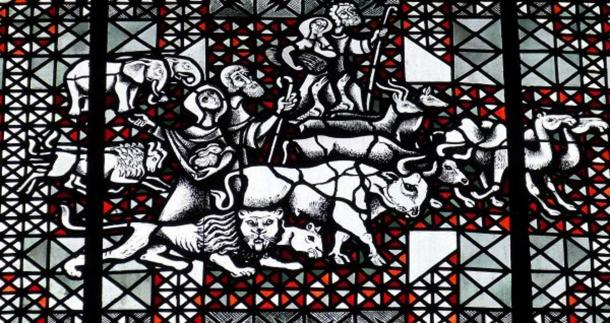 Stained-glass imagery showing animals allegedly being led into the ark.