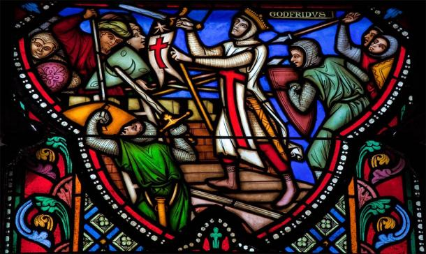 Stained glass depicting the Crusades and siege of Jerusalem (Jorisvo / Adobe Stock)