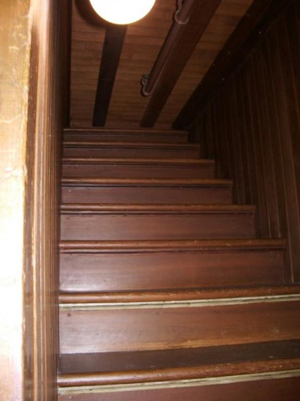 Staircase to nowhere in Winchester Mystery House. Did Sarah construct these features to confuse the unsettled spirits of those killed by Winchester rifles?