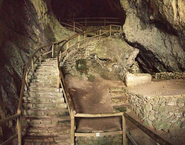 Stairs into the cave in Predjama Castle.