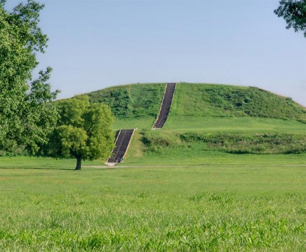 Stairs leading up Native American structure known as monks mound at Cahokia Mounds State Historic Site in Illinois. (Philip /Adobe Stock)