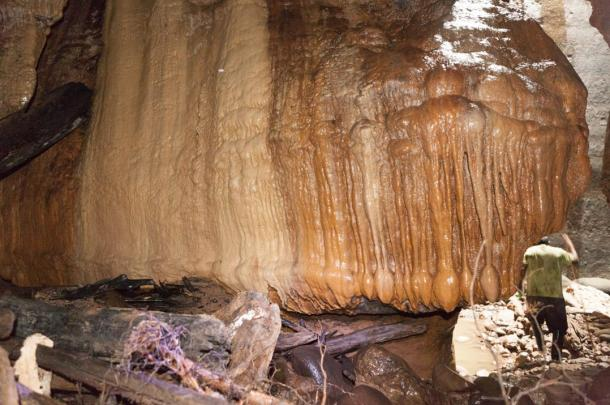Stalactites and Stalagmites in the cave