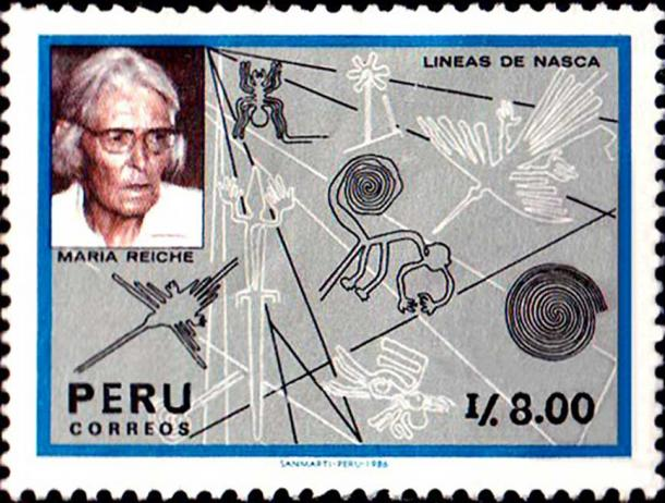Stamp issued by Peru on June 17th, 1987 includes a photo of Maria Reiche. (Latinamericanstudies)