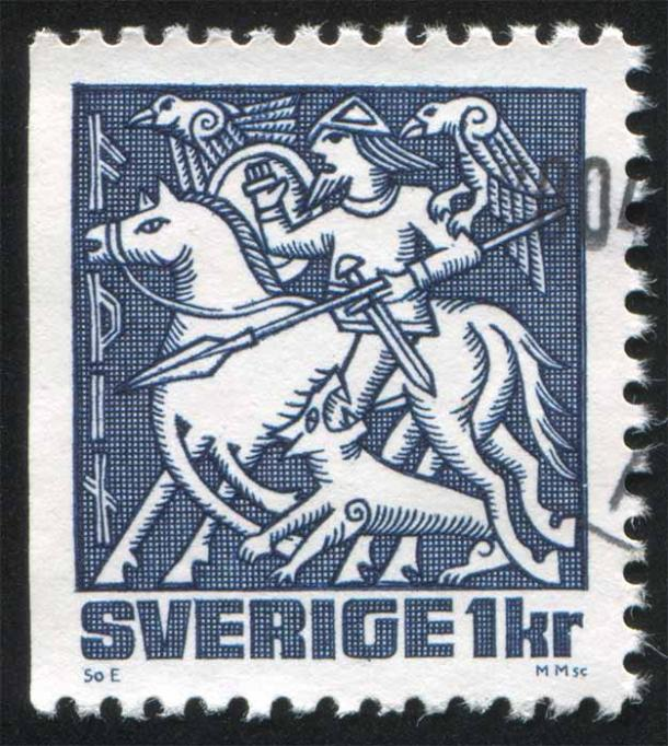 On this Swedish stamp, Odin is depicted at the god of war and fury, but the two ravens suggest another aspect of Odin. The ritual of Odin reveals this Norse god's spiritual, all-seeing side. ( rook76 / Adobe Stock)