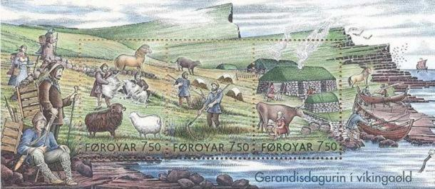 Stamps Showing Everyday Life in the Viking Age Stamps showing 'Everyday Life in the Viking Age.'